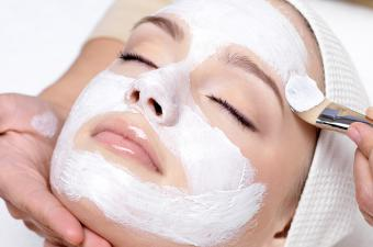 Facial mask at beauty salon